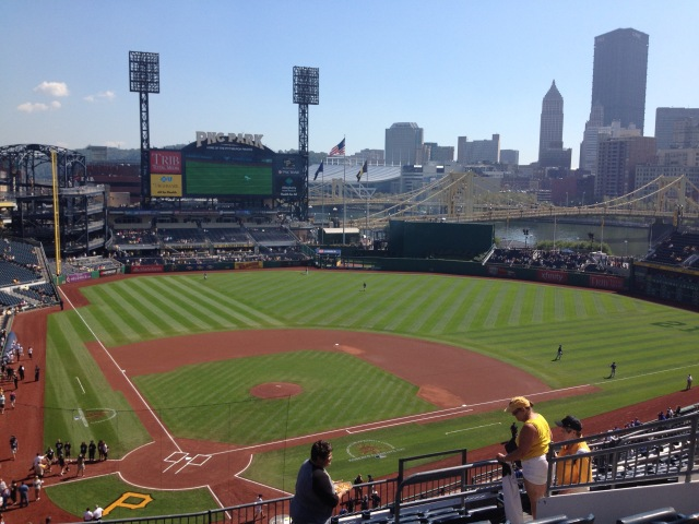 View of PNC Park with the Roberto Clemente Bridge across the Allegheny River.