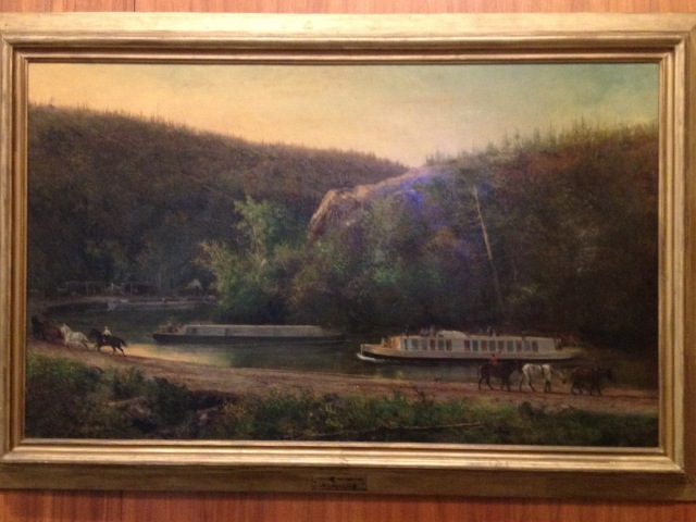 Pennsylvania canal system with one of the inclines of the Allegheny Portage Railroad in the background.