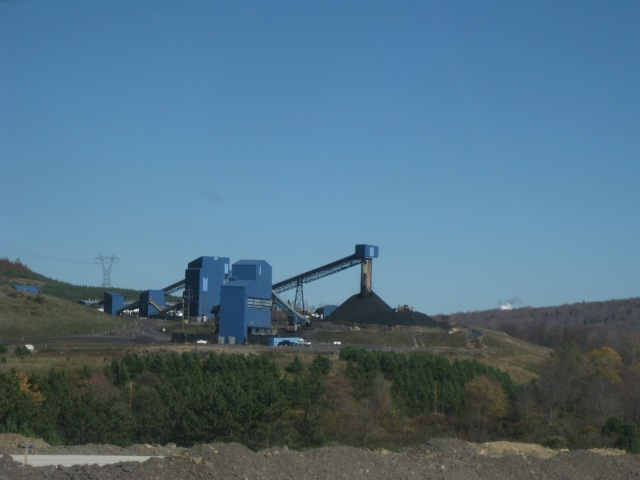 Coal mine chugging away in the West Virginia mountains.