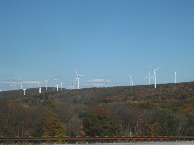 Wind farm stretching across the ridges of these West Virginia mountains.